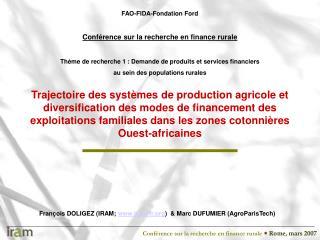 Trajectoire des syst mes de production agricole et diversification des modes de financement des exploitations familiales