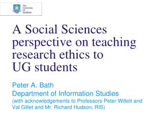 A Social Sciences perspective on teaching research ethics to  UG students
