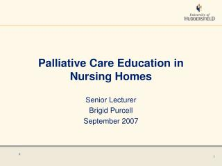 Palliative Care Education in Nursing Homes