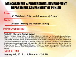 MANGAGEMENT & PROFESSIONAL DEVELOPMENT DEPARTMENT,GOVERNMENT OF PUNJAB