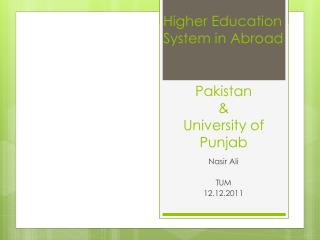 Pakistan  &  University of Punjab