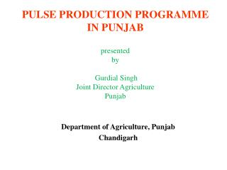 Department of Agriculture, Punjab Chandigarh