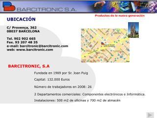 C/ Provença, 362 08037 BARCELONA Tel. 902 902 665 Fax. 93 207 48 35