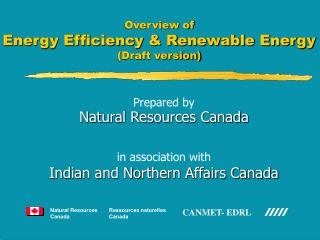 Overview of Energy Efficiency & Renewable Energy  (Draft version)