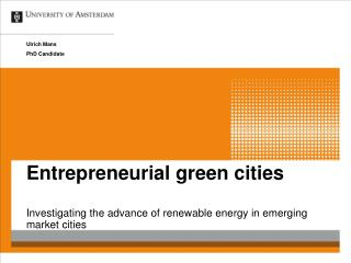 Entrepreneurial green cities