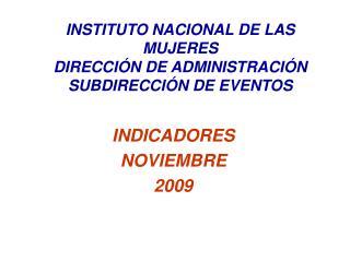 INDICADORES  NOVIEMBRE 2009