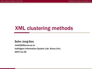 XML clustering methods