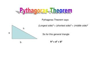 Pythagoras Theorem says