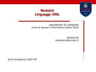 Modulo3   Linguaggi: OWL