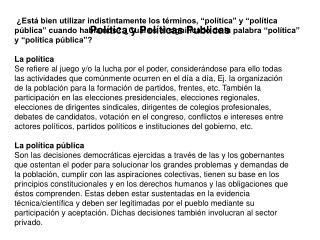 Política y Políticas Publicas