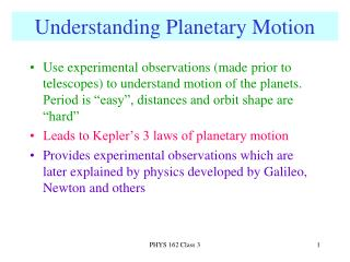 Understanding Planetary Motion