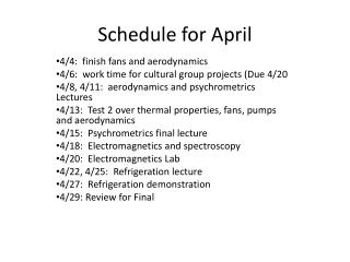 Schedule for April