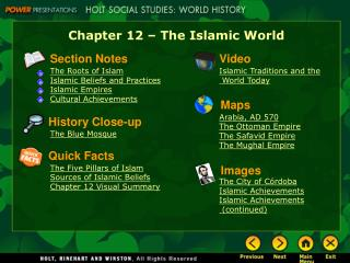 Chapter 12 – The Islamic World