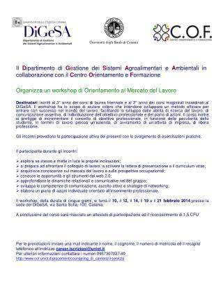 Organizza un workshop di Orientamento al Mercato del Lavoro