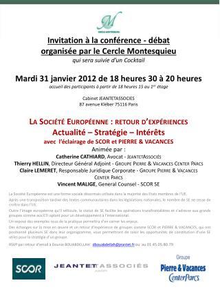 CONFERENCE-DEBAT Société Européenne 31-01-201