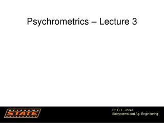 Psychrometrics – Lecture 3