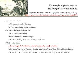 Typologie et permanence des imaginaires mythiques
