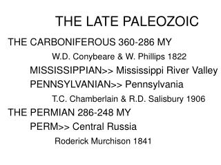 THE LATE PALEOZOIC