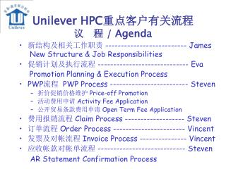 Unilever HPC 重点客户有关流程 议   程  / Agenda