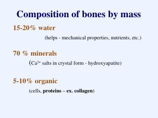 Composition of bones by mass