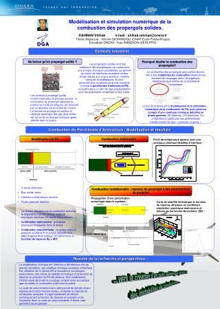 Modélisation et simulation numérique de la combustion des propergols solides.