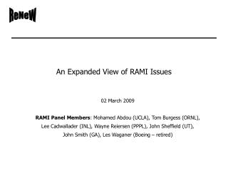 An Expanded View of RAMI Issues