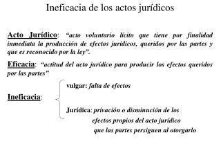 Ineficacia de los actos jurídicos