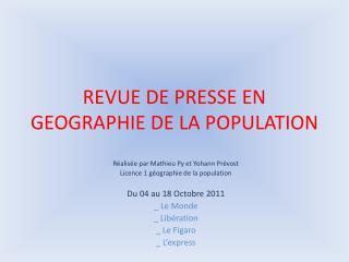 REVUE DE PRESSE EN GEOGRAPHIE DE LA POPULATION