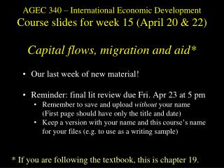 Our last week of new material! Reminder: final lit  review  due  Fri .  Apr 23 at 5  pm