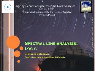 Spectral line analysis:  log  g