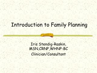 Introduction to Family Planning