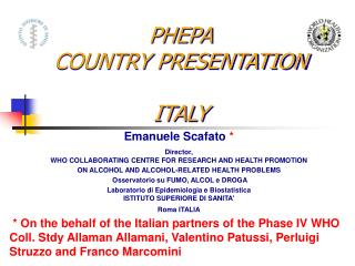 PHEPA COUNTRY PRESENTATION ITALY