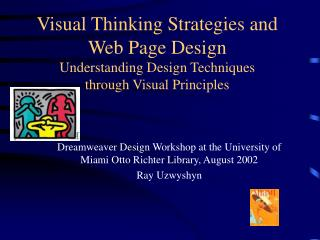 Dreamweaver Design Workshop at the University of Miami Otto Richter Library, August 2002