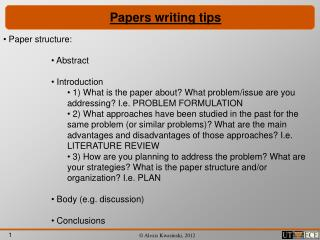 Papers writing tips