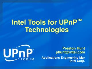 Intel Tools for UPnP TM  Technologies