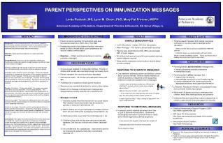 PARENT PERSPECTIVES ON IMMUNIZATION MESSAGES