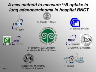 A new method to measure  10 B uptake in lung adenocarcinoma in hospital BNCT