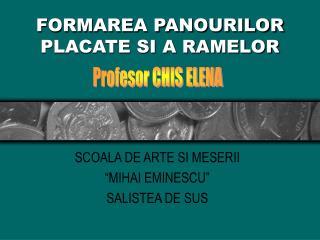 FORMAREA PANOURILOR PLACATE SI A RAMELOR