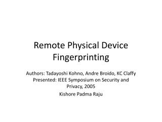 Remote Physical Device Fingerprinting