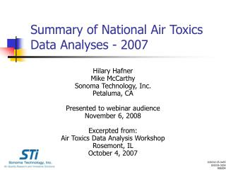 Summary of National Air Toxics Data Analyses - 2007
