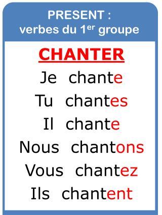 PRESENT :  verbes du 1 er  groupe