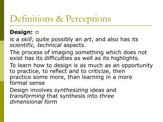 Definitions & Perceptions