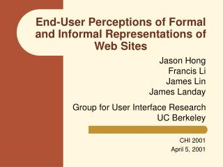 End-User Perceptions of Formal and Informal Representations of Web Sites