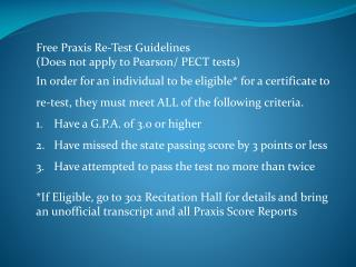 Free Praxis Re-Test  Guidelines (Does not apply to Pearson/ PECT tests)