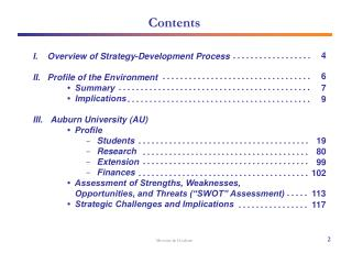 I.    Overview of Strategy-Development Process    II.   Profile of the Environment