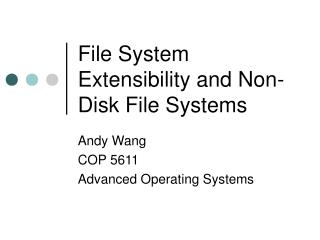 File System Extensibility and Non-Disk File Systems