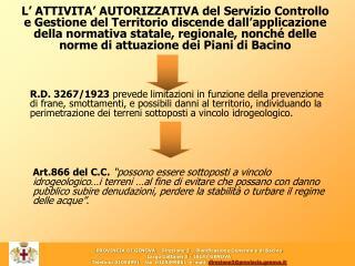 PROVINCIA DI GENOVA – Direzione 3 – Pianificazione Generale e di Bacino
