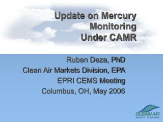 Update on Mercury Monitoring Under CAMR