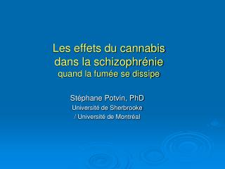 Les effets du cannabis  dans la schizophr�nie quand la fum�e se dissipe
