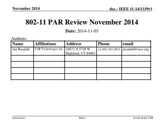 802-11 PAR Review November 2014